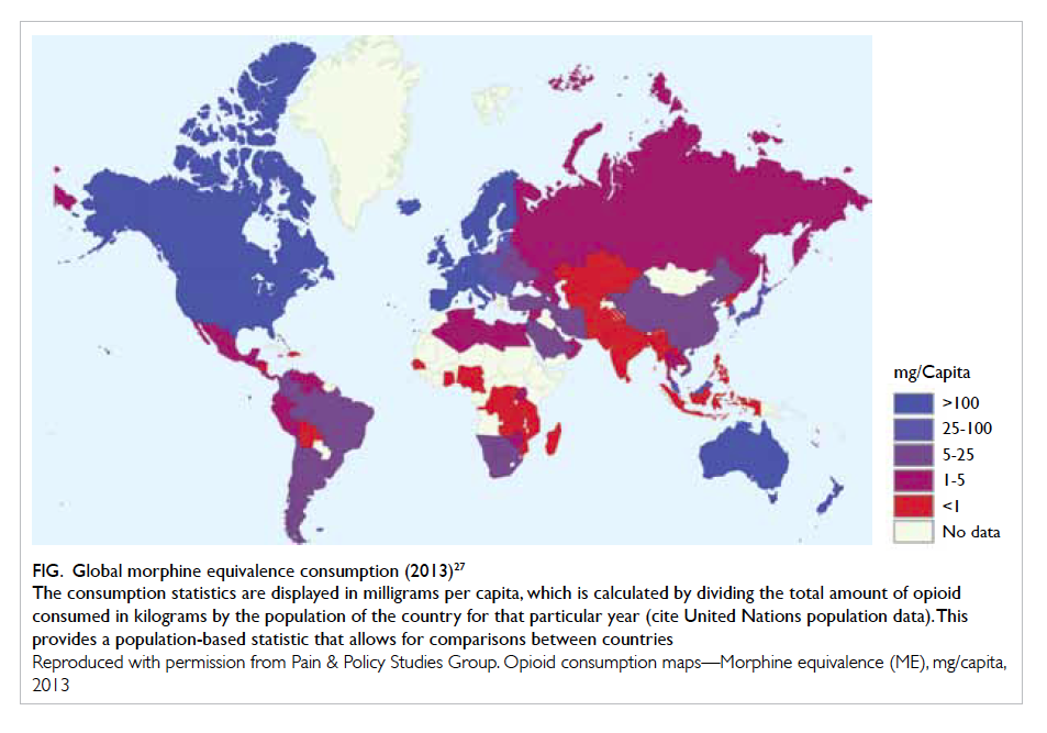Opioid therapy for chronic non cancer pain guidelines for hong kong global morphine equivalence consumption 201327 the consumption statistics are displayed in milligrams per capita which is calculated by dividing the gumiabroncs Choice Image